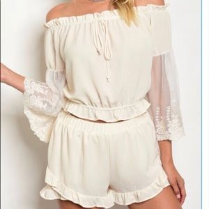 Pants - Cream short set with lace detailed sleeves